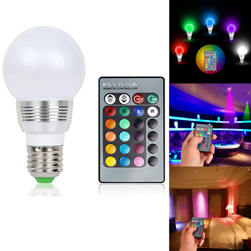 E27 7W RGB LED 16 Colors Wireless Smart Lamp Light Bulb + Remote Control
