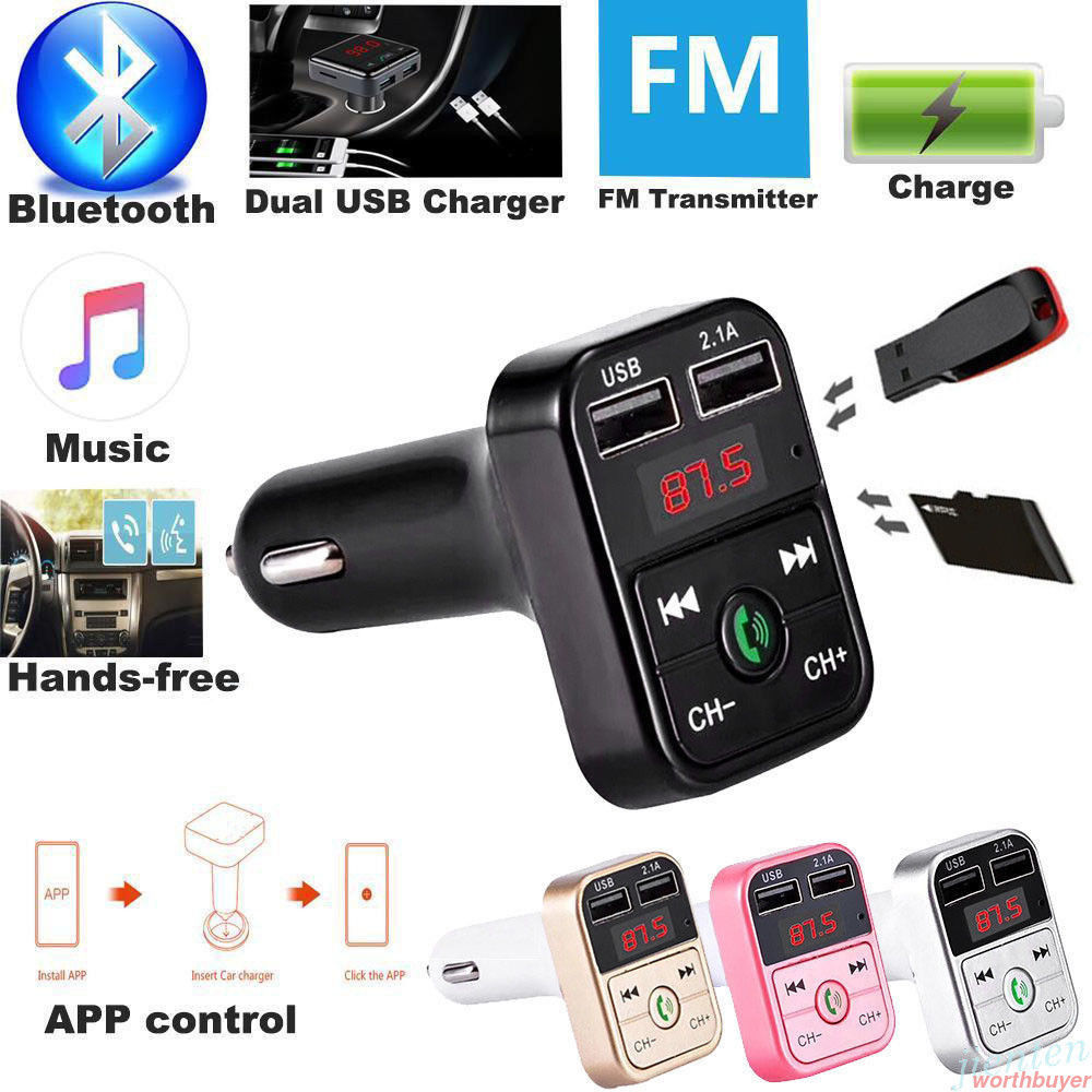 CARB2 Bluetooth Car Kit MP3 Player With Handsfree Wireless FM Transmitter Adapter 5V 2.1A USB Car Charger B2 Support Micro SD Card