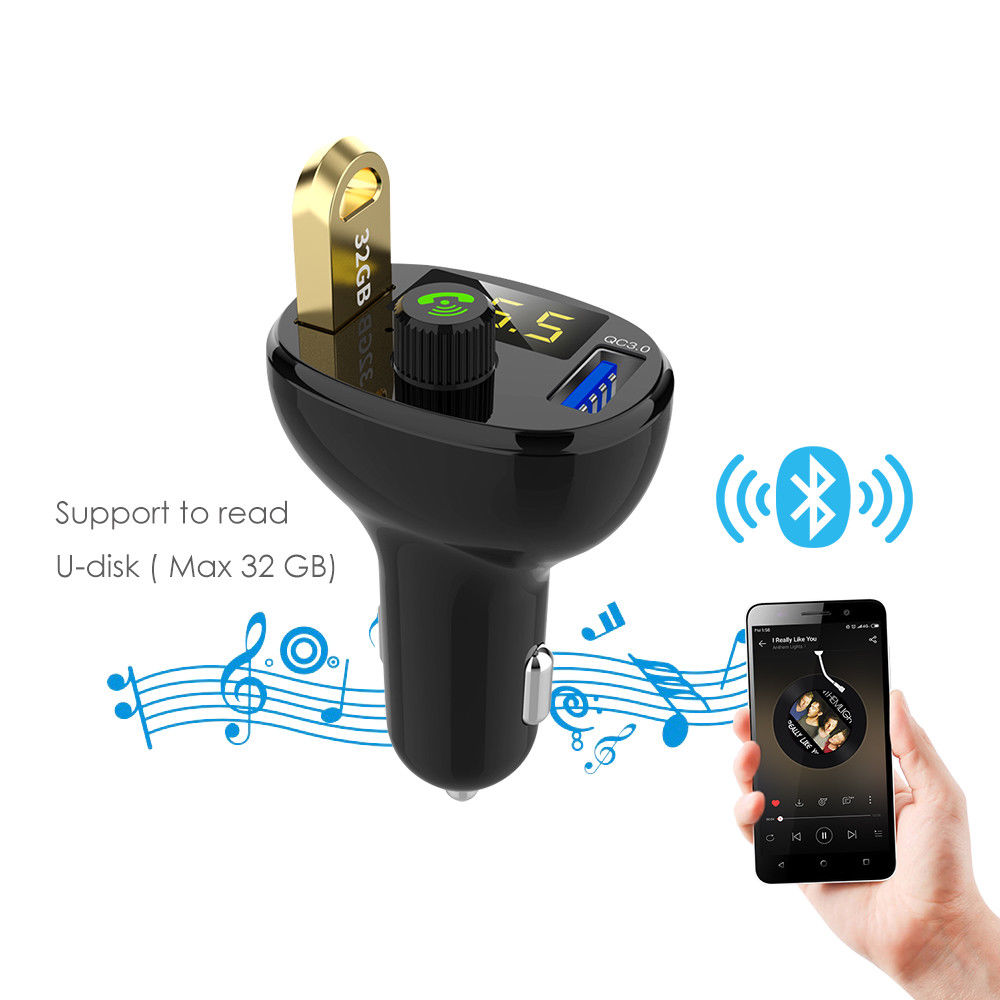BT23Q Wireless FM Transmitter QC3.0 Bluetooth Vehicle Car Charger MP3 Player New