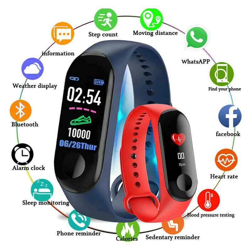 M3 Fitness band Color-screen IP67 Waterproof blood pressure M3C Smart Bracelet sports Heart Rate M3 plus Smart band