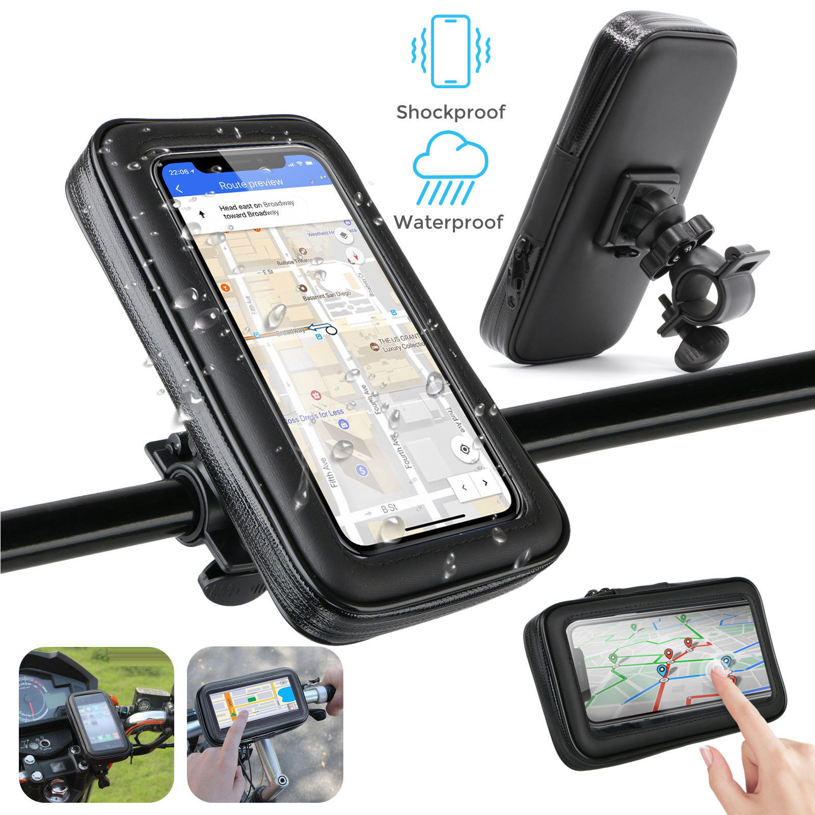 4.7inch, 5.5inch, 6.3inch Waterproof Motorcycle Bike Bicycle Handlebar Mount Holder Case For Cell Phone