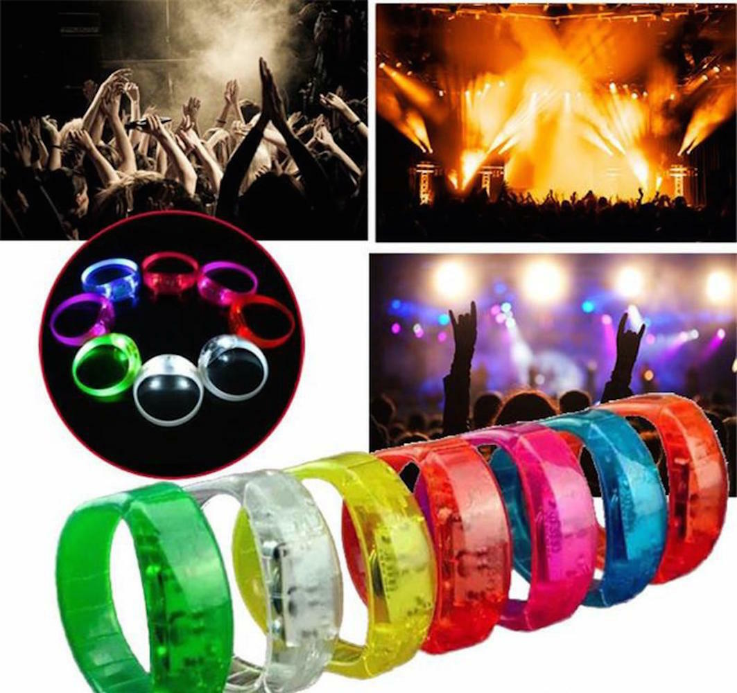 Christmas and Halloween LED Light Voice Control Flash Bangle Bracelet Sound Activated Glow Wristband