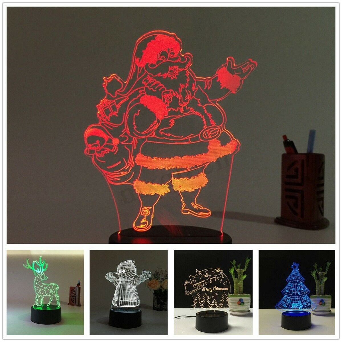 3D LED Illusion Night Light 7Color Touch Table Desk Lamp Bedroom Decor Xmas Gift