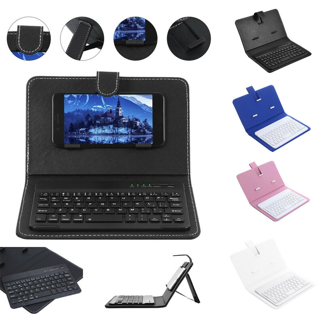 Mini Portable Leather Wireless Blueteeth Keyboard for iPhone for Android Phone
