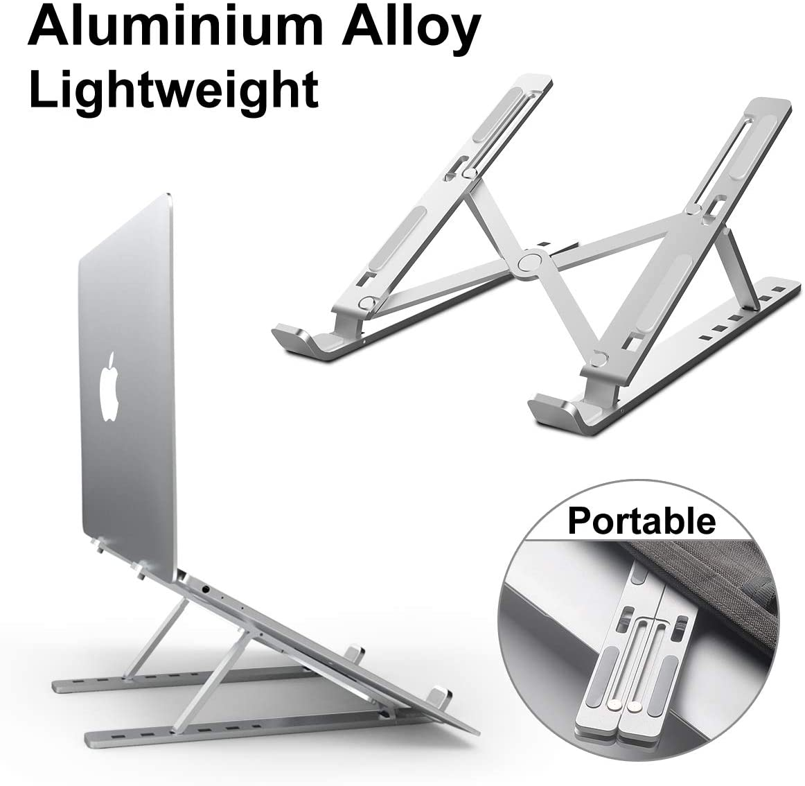 """Adjustable Portable Laptop Holder for Desk, Aluminum Foldable Laptop Riser with 6 Levels of Height Adjustment, Compatible with MacBook Air Pro, Dell, HP, Lenovo,10-15.6"""" Laptops"""